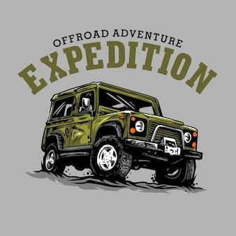 Illustrazione grafica di avventura fuoristrada