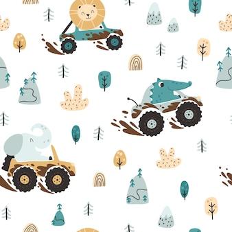 Animali fuoristrada in auto nel modello senza cuciture di fango stile infantile disegnato a mano dei cartoni animati