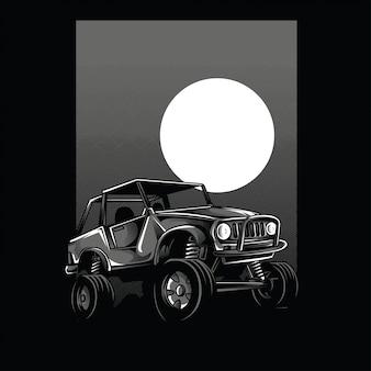 Illustrazione in bianco e nero di vista della luna dell'automobile fuori strada