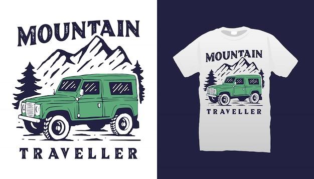 Design della maglietta per auto fuoristrada