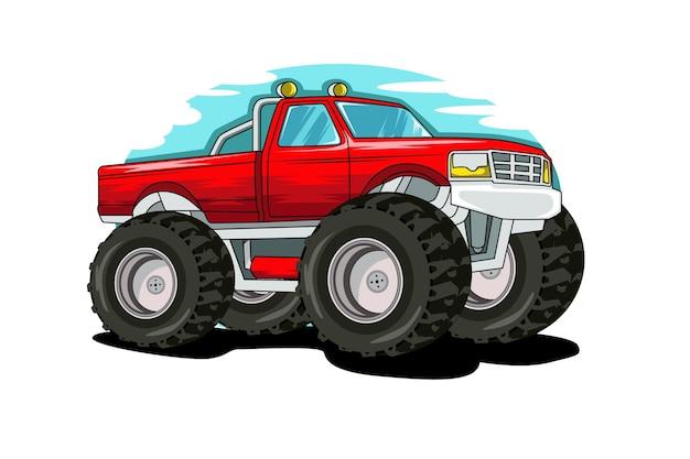 Disegno della mano dell'illustrazione dell'illustrazione del camion di mostro fuoristrada