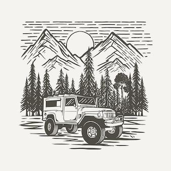Veicolo suv offroad con sfondo di foresta e montagna premium vector