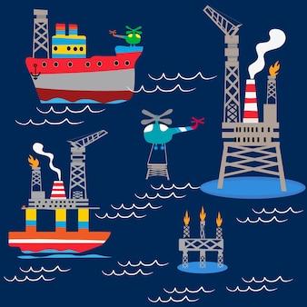 Foratura in acque profonde in mare aperto, oggetti e attrezzature.
