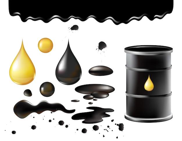 Contenitore di barile di metallo nero realistico nero olio con goccia d'oro, petrolio che cade