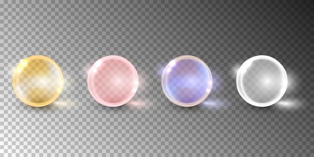 Bolla di olio, capsula di vitamina isolata su sfondo trasparente.