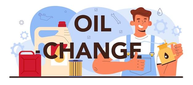 Intestazione tipografica del cambio dell'olio. i componenti dell'auto sono stati riparati nell'officina dell'auto. il meccanico in uniforme controlla l'olio e il filtro di un veicolo e lo sostituisce. illustrazione vettoriale piatto.