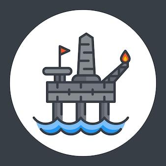 Icona della piattaforma di trivellazione petrolifera, piattaforma offshore, stile piatto con contorno, illustrazione vettoriale