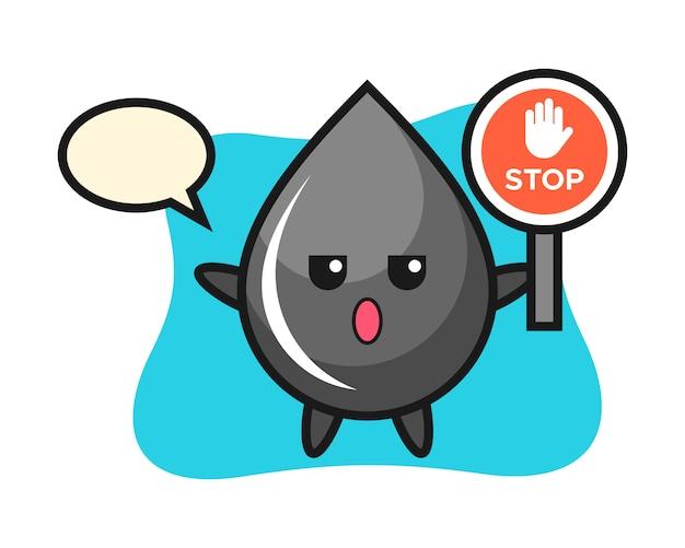 Illustrazione del carattere di goccia di olio che tiene un segnale di stop