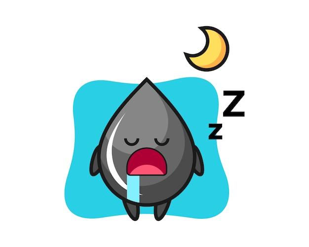 Illustrazione del carattere di goccia di olio che dorme la notte