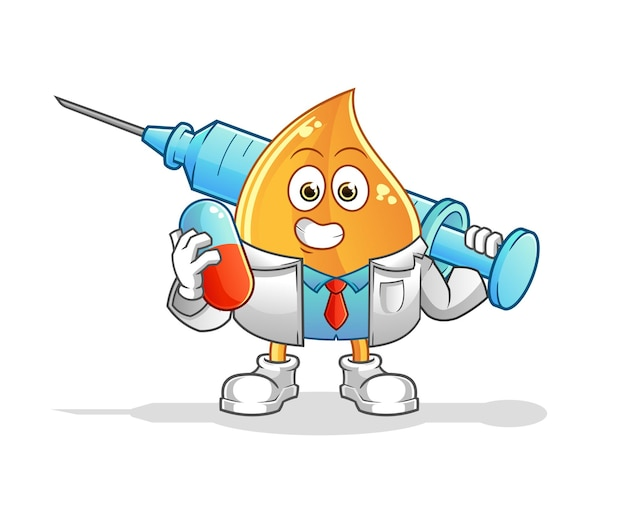 Il medico della goccia di olio che tiene medichine e iniezione