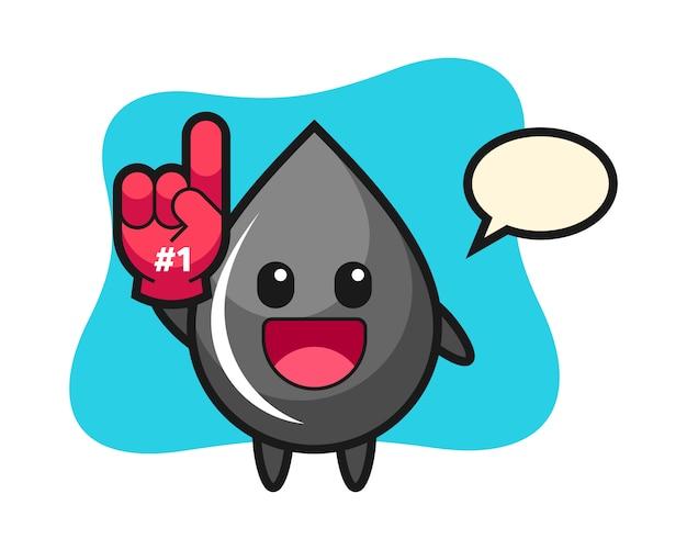 Fumetto dell'illustrazione della goccia di olio con il guanto dei fan di numero