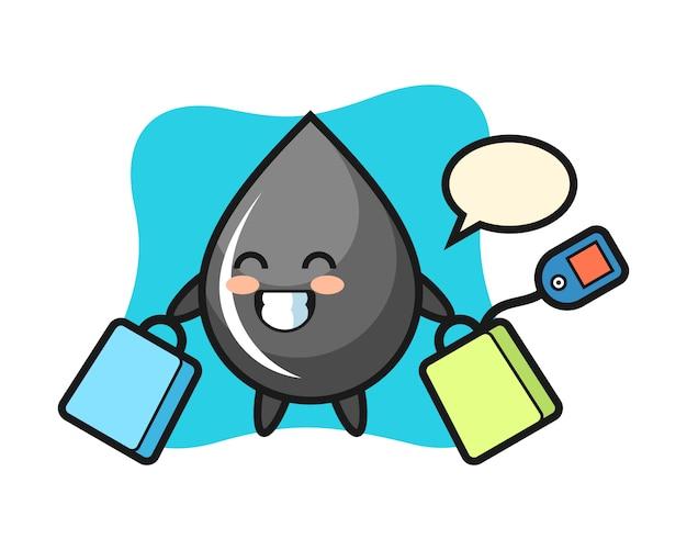 Fumetto della mascotte di goccia di olio che tiene un sacchetto della spesa