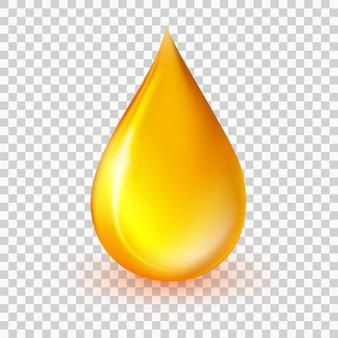Vettore di goccia di olio goccia di liquido gialla realistica icona di goccia di miele 3d di essenza di collagene dorato