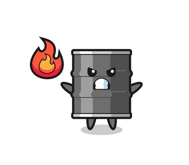 Fumetto del personaggio del tamburo dell'olio con gesto arrabbiato, design carino