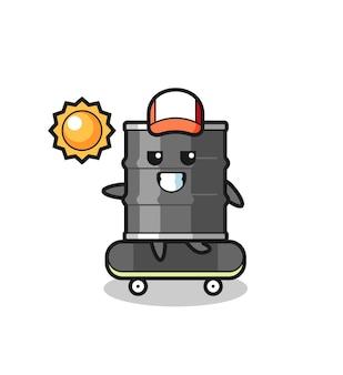 L'illustrazione del personaggio del tamburo dell'olio cavalca uno skateboard, design carino