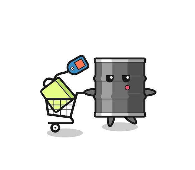 Fumetto dell'illustrazione del tamburo dell'olio con un carrello della spesa, design carino
