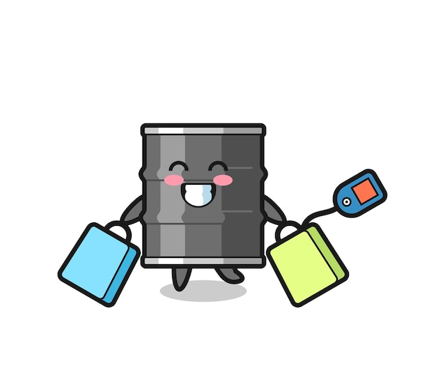 Fumetto della mascotte del tamburo dell'olio che tiene una borsa della spesa, design carino