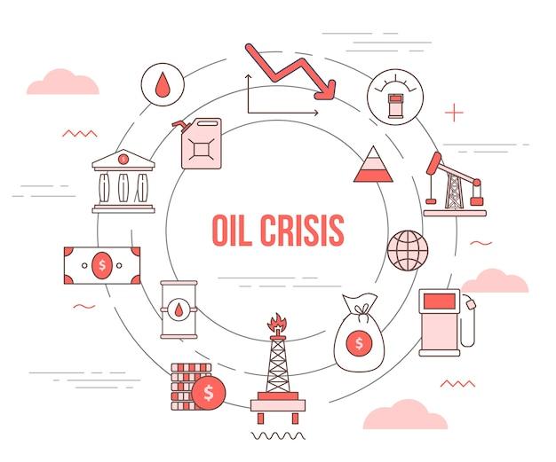 Crisi di petrolio e gas che cade concetto con set modello banner con un moderno stile di colore arancione