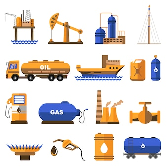 Set di icone di petrolio e gas.