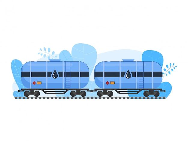Illustrazione dell'industria petrolifera del petrolio, treno di ferrovia del trasporto del fumetto con le automobili di autocisterna che trasportano petrolio greggio su bianco
