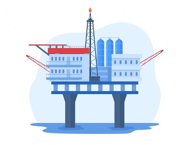 Illustrazione dell'industria petrolifera del petrolio, paesaggio urbano del fumetto con la piattaforma di perforazione dell'impianto di perforazione dell'acqua, stazione offshore su bianco