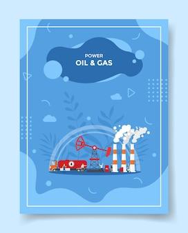 Illustrazione di industria petrolifera e del gas Vettore Premium