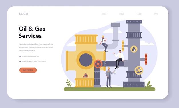 Banner web o pagina di destinazione per l'industria petrolifera e del gas