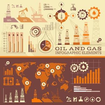 Infografica di petrolio e gas