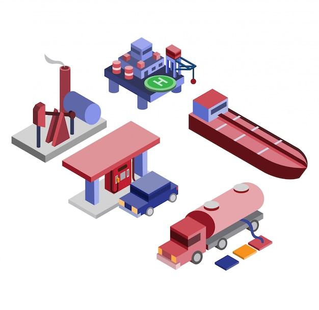 Industria petrolifera isometrica del gas di petrolio, stazione di servizio, set di icone