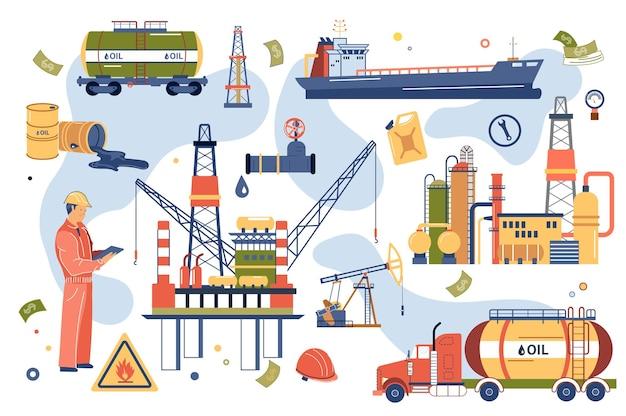 Set di elementi isolati concetto di industria petrolifera Vettore Premium