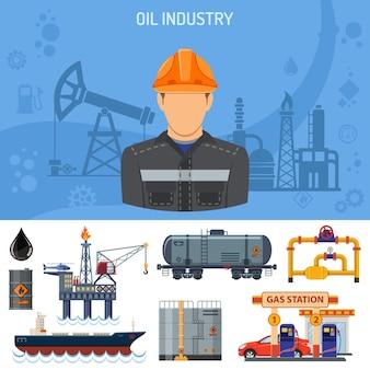 Concetto di industria petrolifera con estrazione di icone, produzione e trasporto di petrolio e benzina.