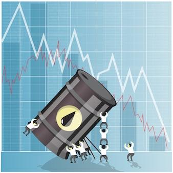 Concetto di crisi del settore petrolifero. calo dei prezzi del petrolio greggio. illustrazione di vettore di mercati finanziari.