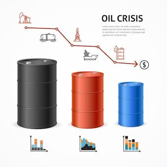 Concetto del grafico di crisi dell'industria petrolifera. mercato finanziario e icone.