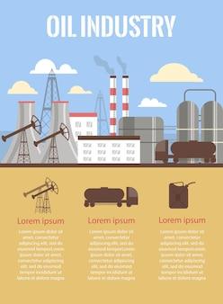 Industria petrolifera e produzione di carburante banner o poster illustrazione vettoriale piatta
