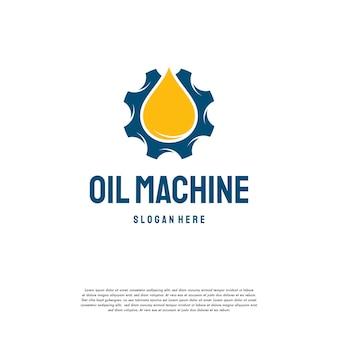 Il logo dell'industria petrolifera progetta il vettore di concetto, il simbolo del modello del logo della macchina per ingranaggi dell'olio