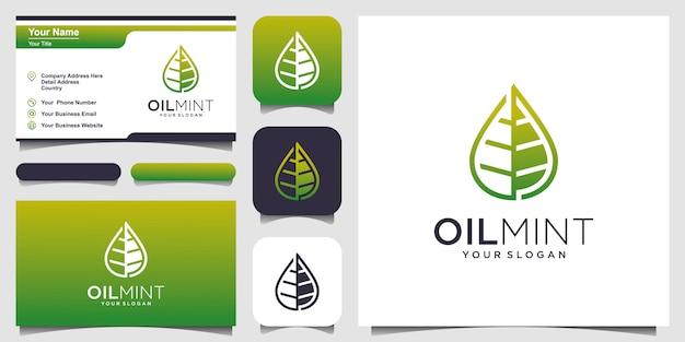 Logo e biglietto da visita alla menta con olio e foglie