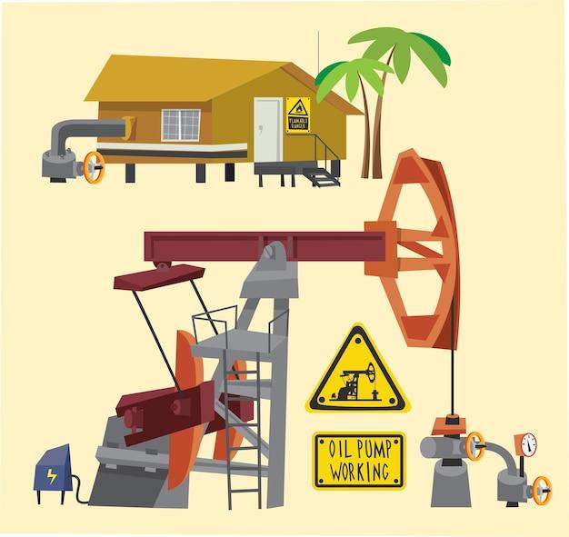 Oggetti petroliferi paesaggio e attrezzature. illustrazione vettoriale