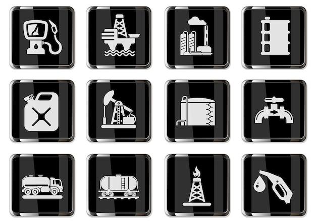 Oggetti dell'industria petrolifera e petrolifera semplicemente simboli per il web e l'interfaccia utente. pittogrammi nei pulsanti cromati neri.