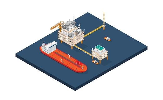 Una piattaforma offshore della piattaforma petrolifera o una piattaforma di perforazione offshore con stile isometrico