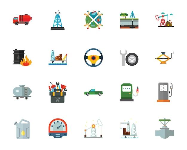 Set di icone di produzione di olio