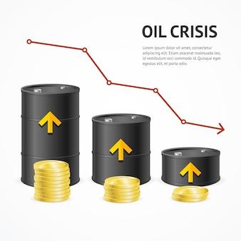Grafico di tendenza al ribasso del concetto di crisi del settore della produzione di petrolio.