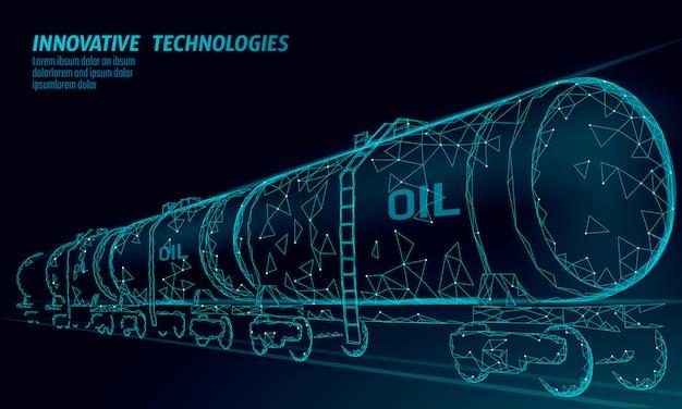 La cisterna ferroviaria dell'olio 3d rende poli basso. carro armato diesel dell'industria finanziaria di petrolio del combustibile. linea poligonale illustrazione economica di affari economici logistici della benzina del treno di vagone della ferrovia del cilindro