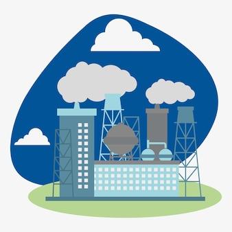 Illustrazione della raffineria di petrolio