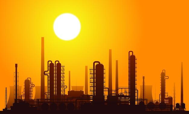 Raffineria di petrolio all'illustrazione di tramonto