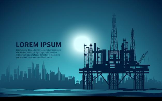 Piattaforme petrolifere. produzione di olio. illustrazione