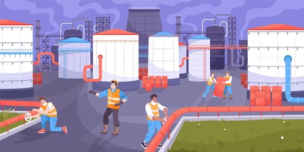 Illustrazione di stoccaggio dell'olio con illustrazione piatta di produzione di petrolio