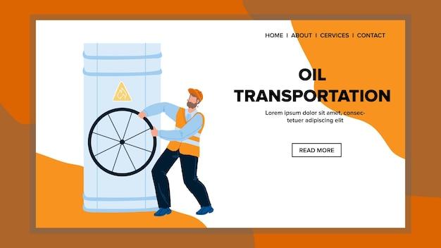 Trasporto olio valvola tubo girando vettore uomo. il rubinetto dell'oleodotto per il trasporto dell'olio gira l'operaio della fabbrica di petrolio dell'industria. lavoro di carattere sull'illustrazione piana del fumetto di web della centrale elettrica petrolchimica
