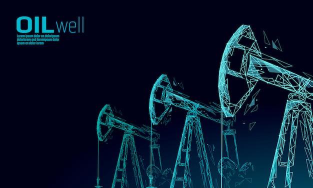 Concetto di business low poly juck rig rig olio. economia finanziaria produzione di benzina poligonale. le torri del pumpjack dell'industria petrolifera del petrolio che pompano la linea del punto di perforazione il collegamento collega l'illustrazione blu di vettore dei punti