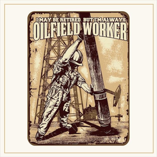 Citazioni e segni di illustrazione dei lavoratori del petrolio