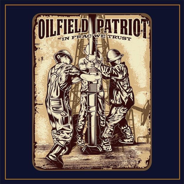 Segni di illustrazione del patriota del campo petrolio